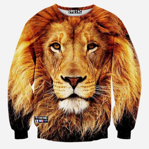 3D Allover Print Lion Face Crewneck Sweatshirt