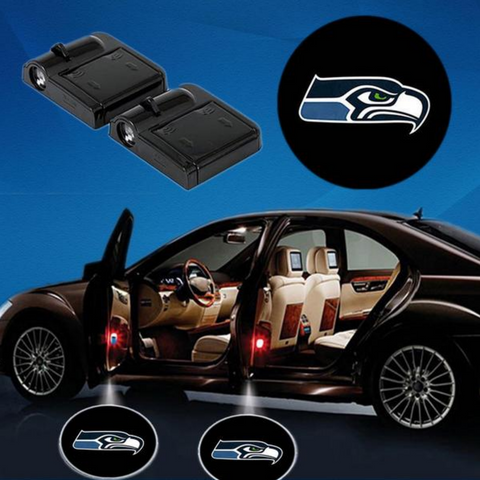 2 NFL SEATTLE SEAHAWKS WIRELESS LED CAR DOOR PROJECTORS