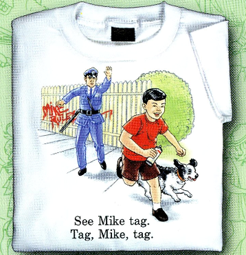 Childhood See Mike Tag. Tag, Mike, Tag. White Tshirt