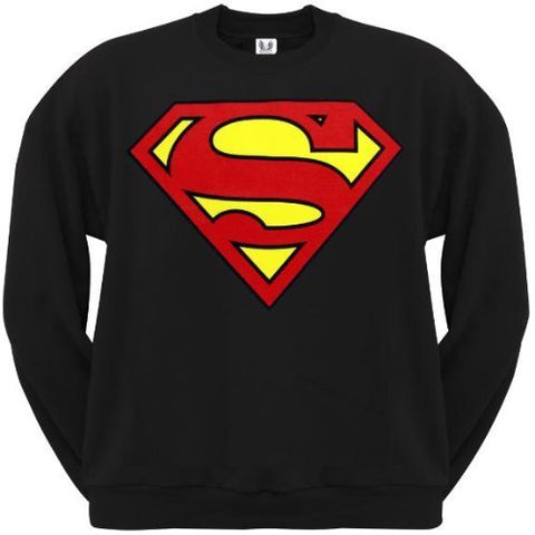 Superman Classic Logo Black Crewneck Sweatshirt