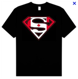 Superman Canadian Flag Logo Black Tshirt - TshirtNow.net - 1