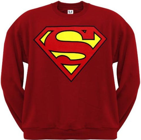 Superman Classic Logo Red Crewneck Sweatshirt