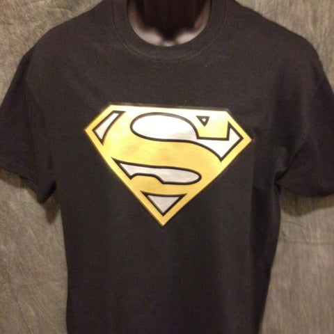 Superman Logo Variant Gold and Silver Alternate-Color Logo Black Tshirt Superman Logo Tshirt