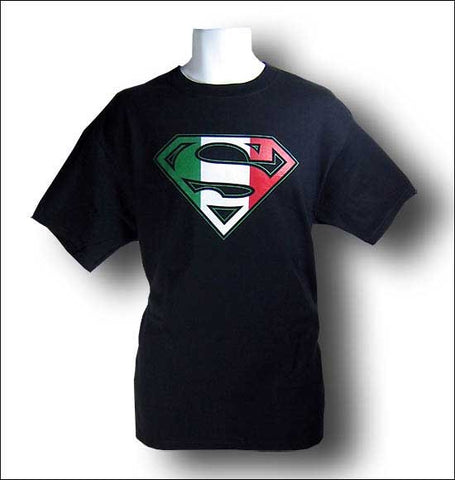 Superman Italian Flag Logo Black Tshirt