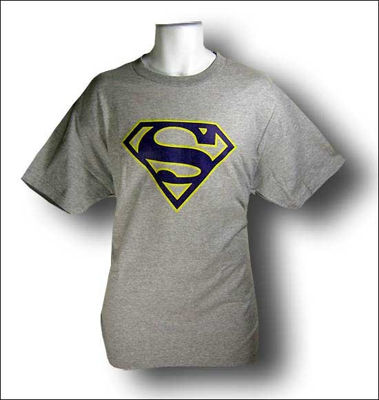 Superman Purple & Gold logo heather grey tshirt - TshirtNow.net