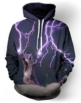 Lightning Cat Unisex Allover 3D Print Hoodie