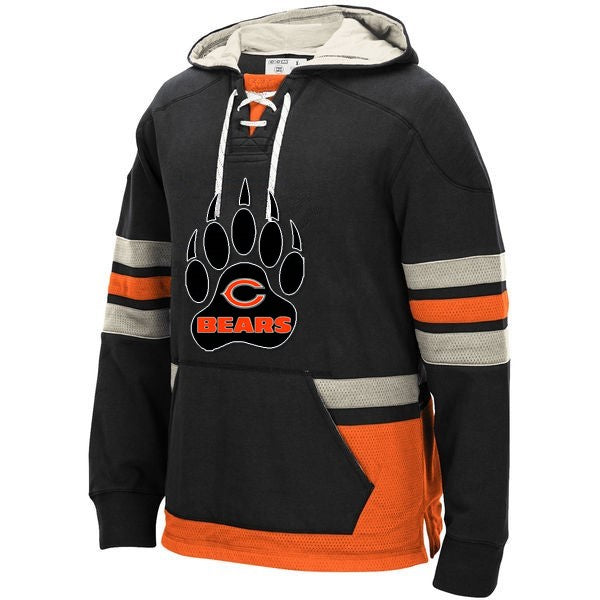 new concept 7996a 22d37 Chicago Bears Laced Hockey style Hoodie Sweatshirt