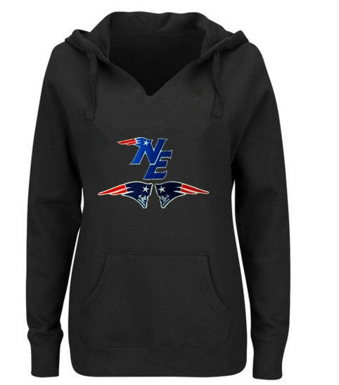 New England Patriots Women's V-neck Fitted Hoodie