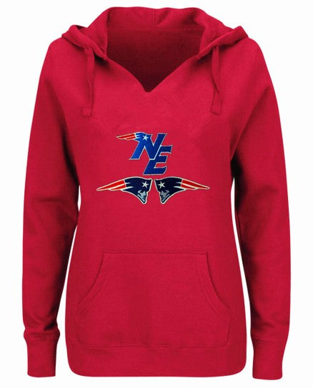 best service fe6f0 2e035 New England Patriots Women's V-neck Fitted Hoodie