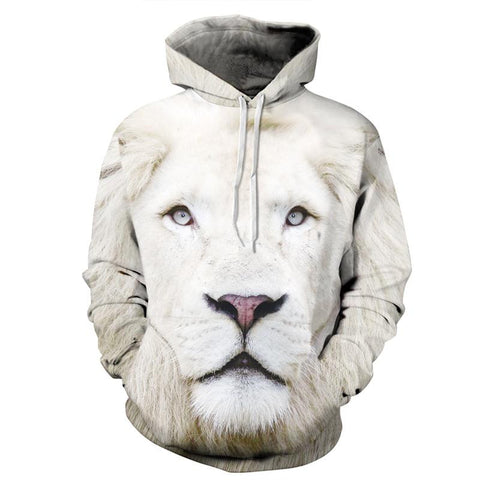 White Lion Allover 3D Print Hoodie