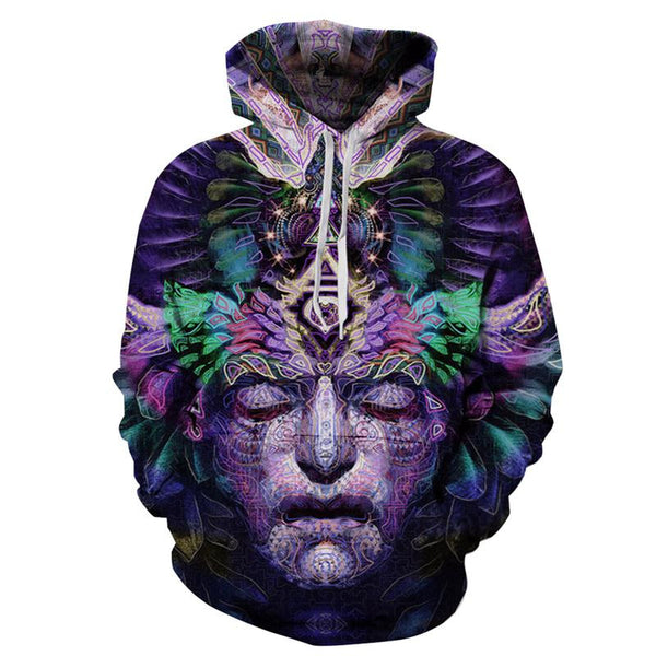 Mandala Contemplation Face Allover 3D Print Hoodie