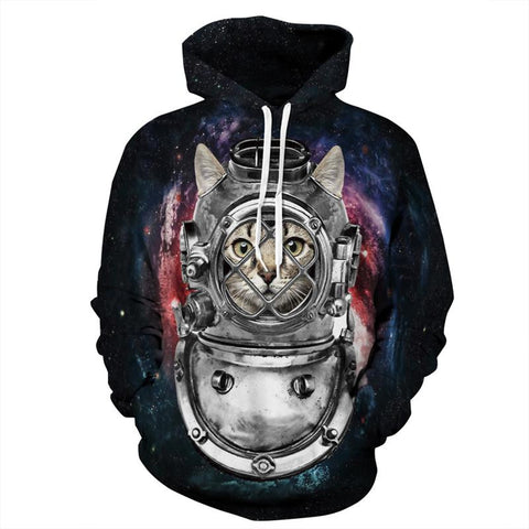 Cat Star Diver Allover 3D Print Hoodie