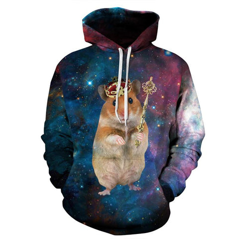 King Hampster Allover 3D Print Hoodie
