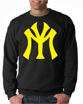 Young Money YM Logo Crewneck Sweatshirt: Black with Yellow Print - TshirtNow.net