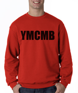 Ymcmb Crewneck Sweatshirt: Red With Black Print