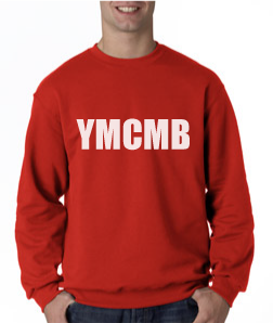Ymcmb Crewneck Sweatshirt: Red With White Print