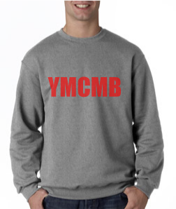 Ymcmb Crewneck Sweatshirt: Grey With Red Print