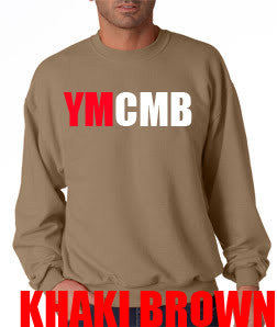 Ymcmb Crewneck Sweatshirt: Khaki Brown With Red and White Print