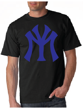 Young Money YM Logo Tshirt: Black with Blue Print - TshirtNow.net