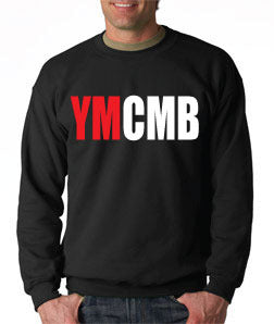 Ymcmb Crewneck Sweatshirt: Black With Oversize Red and White Print