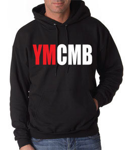 Ymcmb Hoodie: Black With Oversize Red & White Print