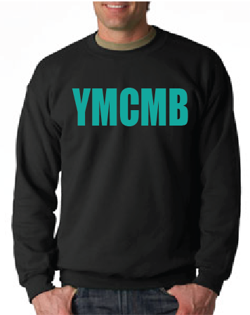 Ymcmb Crewneck Sweatshirt: Black With Teal Print - TshirtNow.net