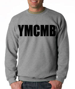 Ymcmb Crewneck Sweatshirt: Grey With Oversize Black Print