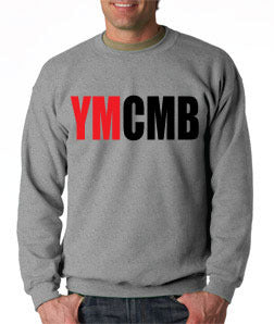 Ymcmb Crewneck Sweatshirt: Grey With Oversize Red and Black Print
