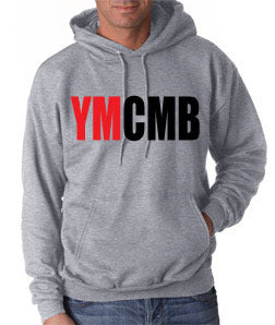 Ymcmb Hoodie: Grey With Oversize Red and Black Print