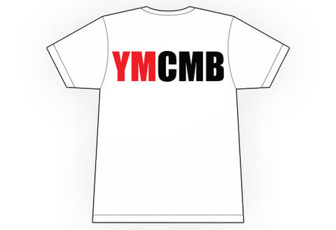 Ymcmb Tshirt: White With Red & Black Print