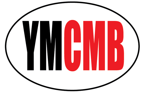 "YMCMB Oval Decal: 5.5"" X 3.4"" Black & Red YMCMB Print on White Oval Background Vinyl - TshirtNow.net"