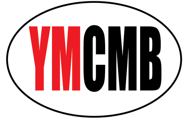 "YMCMB Oval Decal: 5.5"" X 3.4"" Red & Black YMCMB Print on White Oval Background Vinyl - TshirtNow.net"
