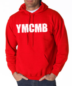 Red YMCMB Hoodie With White Print