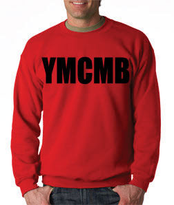 Red Ymcmb Crewneck Sweatshirt With Black Print