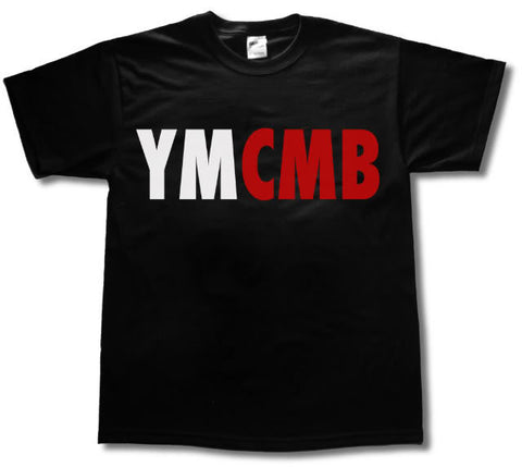 Ymcmb Tshirt: Black With Red & White Print