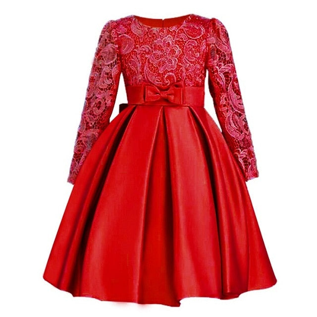 Autumn Winter Lace High Grade Dress For Baby Girl Gown Birthday