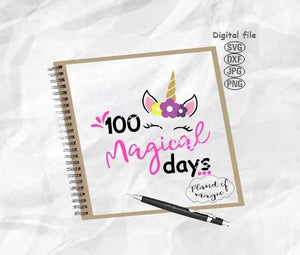 100 Magical Days Svg, School Svg, 100 Unicorn Days Svg, 100th Days Of School Svg, 100 Days Svg School T shirt SVG