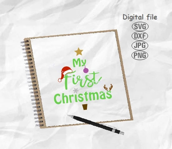 My 1st Christmas Svg, Baby First Christmas Svg, Christmas Svg, Christmas Tree Svg