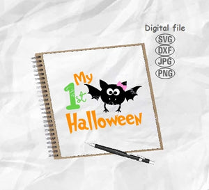 My 1st Halloween Svg, Baby 1st Halloween Svg, Bat Svg
