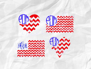 4th of July Svg, American Flag Svg, Flag Monogram Svg, Patriotic Svg, Chevron Flag Svg