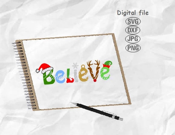 Believe Svg, Believe Christmas Svg, Christmas Svg