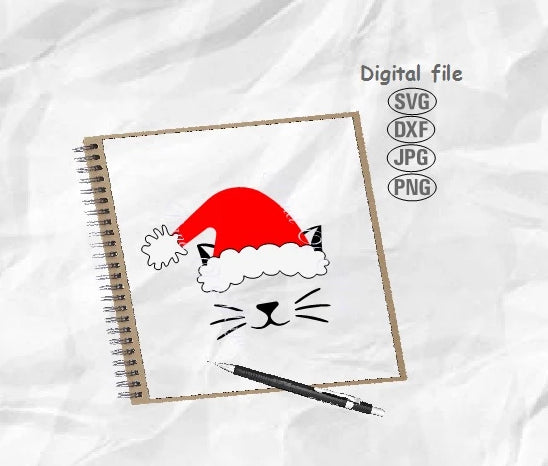 Cat Christmas Hat Svg, Cat Svg, Christmas Cat Svg, Santa Hat Svg