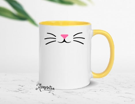 Cat Mug, Cat Face Mug, Cat Lover Mug, Whisker Mug, Gift For Cat Lover, Pet Mug, Funny Mug, Cat Mom Mug