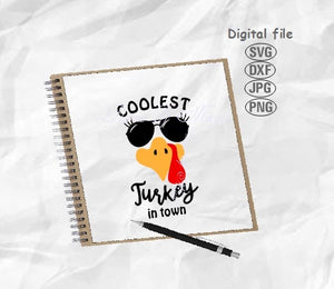 Coolest Turkey In Town Svg, Turkey Face Svg, Turkey Svg, Thanksgiving Svg