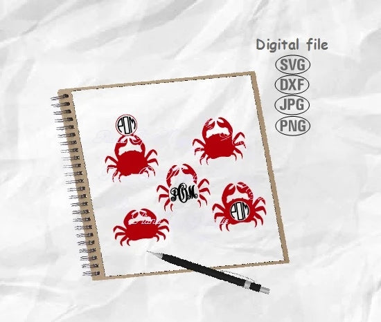 Crab Svg, Crab Bundle Svg, Crab Monogram Svg, Nautical Svg, Crab Cut File