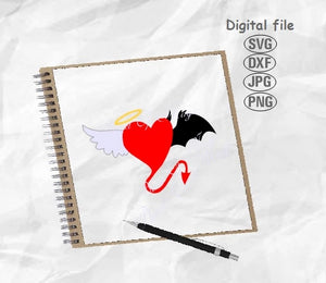 Devil And Angel Svg, Heart Svg, Valentine Day Svg, Devil Svg