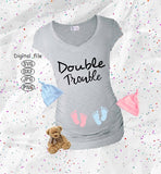 Double Trouble Svg, Twins Maternity Svg, Maternity Svg