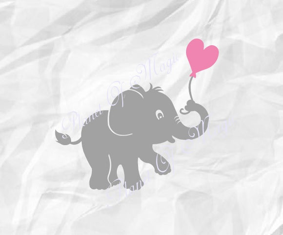 Elephant Svg, Baby Elephant with Balloon Svg