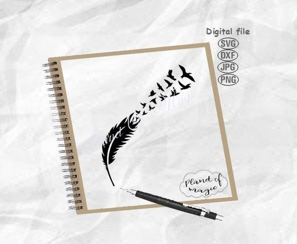 Feather With Birds Svg, Feather Svg, Birds Svg, Birds Of Feather Svg