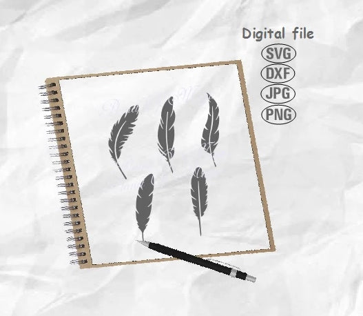 Feathers Svg, Feather Bundle Svg, Feather Clipart, Feather Png